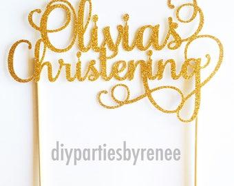 Customised Cake Topper - Gold, Silver, Copper, Black, White Glitter - Birthday - Christening - Baptism - Engagement - Wedding etc