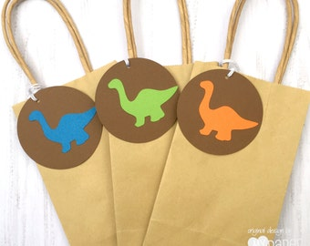 Dinosaur Gift Tags. Green blue or orange with brown. Swing Tags. Dino party, roar, rawr, birthday party favors, baby shower.