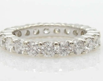 14K White Gold 3.40cttw F/VS1 Round Brilliant Diamond Eternity Wedding Band 7.25; sku # 3378
