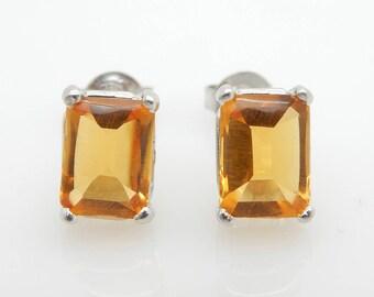 18K White Gold 3.50cttw Emerald Cut Golden Topaz Stud Earrings