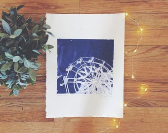 "Silkscreen Print - ""Don't Do It""   Ferris Wheel, Photo Printmaking, Original Art, Original Print, Purple Decor, Affordable Art"