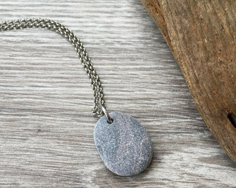 Pebble pendant, raw stone jewelry, found pebble necklace, natural rock, natural jewelry, smooth beach stone pendant, stainless steel