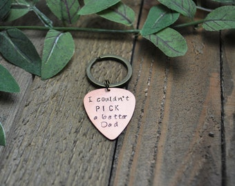 I Couldn't Pick a Better Dad Keychain - I couldn't pick a better Husband Keychain - Guitar Pick Keychain - Custom Keychain