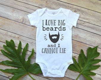 Beard Shirt, I love big beards, Fathers Day Gift from Baby, Beard Daddy shirt, Cute Baby Clothes, Beard Bodysuit, Cute Boy Clothes, Daddy