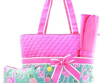 Personalized Flamingo Pineapple Quilted 3 Piece Diaper Bag Set, Custom Diaper Bag, Embroidered Diaper, Personalized Diaper Bag, Baby Gift