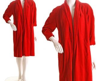 1940s Deep Blood Red Velvet Swing Opera Coat by Dalas - L