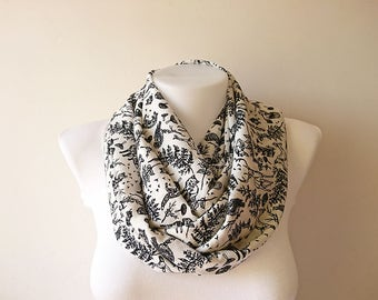 White Animal Print Infinity Scarf, Black White Scarf, Soft Lightweight, Loop Scarf, Circle Scarf, Women Accessories, Spring Summer, For Her