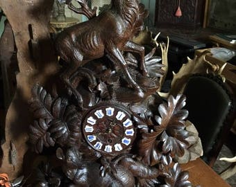 Large Swiss Black Forest Wood Carved Clock