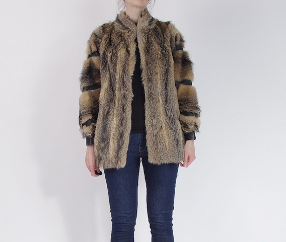 SALE - 70s Real Fur & Leather Luxury Street Style Jacket / Size M