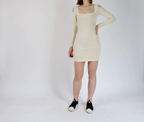SALE - 80s Kookai Open Shoulders Wool Mixed Off White Mini Knitwear Dress Made in France / Size M