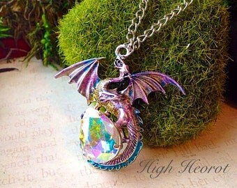 Crystal Dragon Egg Fairy Tale Dragon Necklace Medieval Pastel Dragon Game of Thrones Jewelry Dragon Lover Dungeons and Dragon Jewelry Skyrim