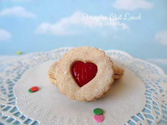 Fake Cookies Strawberry Cherry Sandwich Linzer Tart Set of 3