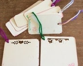 Upcycled package board gift, scrapbook tags