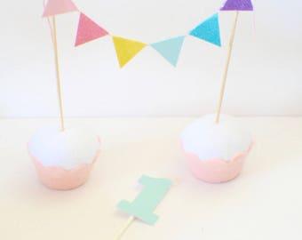 Rainbow Cake Topper, Pastel Rainbow Banner, Paster Rainbow Cake topper