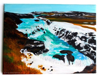 Original Iceland Landscape Acrylic Painting of Gullfoss Waterfall, 4 of 4 from the Series