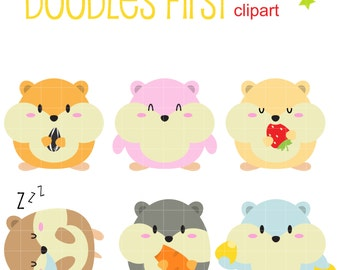 Cute Little Hamsters Digital Clip Art for Scrapbooking Card Making Cupcake Toppers Paper Crafts