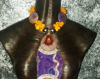 Exotic Purple Agate Pendant Necklace Agate Coral Statement Necklace Luxury OOAK Wearable Art Pendant Runway Catwalk Eccentric Gaudy Flashy