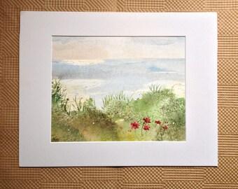 Landscape Watercolor Painting - Field of Flowers Painting - Lake Watercolor - Original Painting - Lake Landscape Field