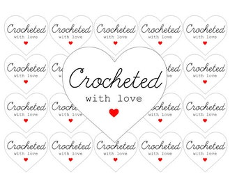 35 Crocheted With Love Heart Shaped Stickers Labels Packaging Cute Kawaii Crochet Matte Stickers United Kingdom anniscrafts