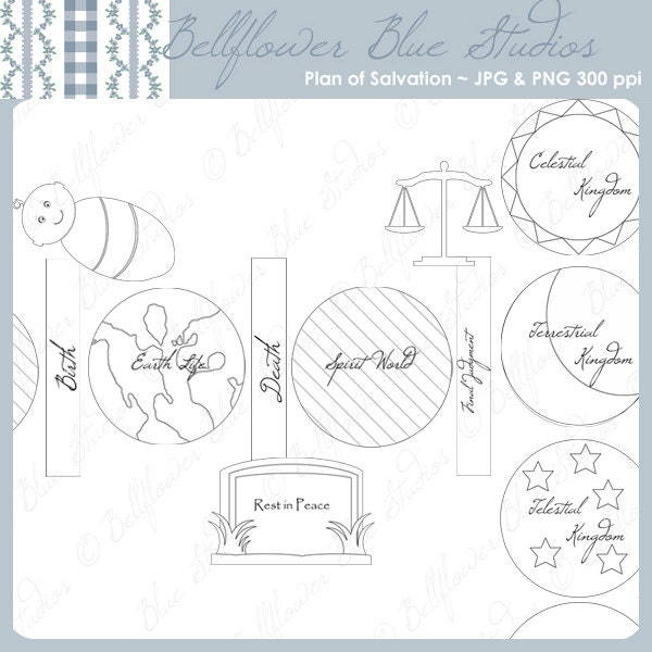 Plan of salvation digital clipart black white line art for Lds plan of salvation coloring page