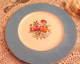 Vintage Cake Plate - Large Cake Plate - Blue Cake Plate with Floral Design - Afternoon Tea - Serving Plate - Decorative Plate - Floral Plate