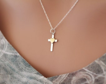 Sterling Silver Cross Charm with Bronze Heart Necklace, Cross Pendant Necklace, Cross with Heart Necklace, Cross Necklace