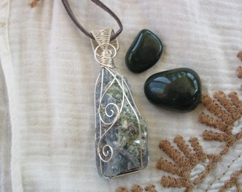 Blue Kyanite with Fuchsite Inclusions Wire Wrap Necklace // Vegan Suede // Hippie Boho Gypsy