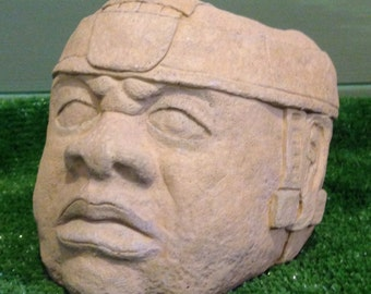The Olmec Colossal Head Planter. Garden sculpture plant pot.