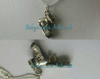 Solid 925 Sterling Silver Small Opening Boot House Charm Necklace with Family Inside on Fine Solid 925 Sterling Silver Chain