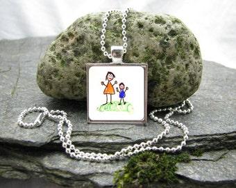 Your Child's Artwork Necklace, Custom Photo Pendant Necklace, Kid's Art Necklace