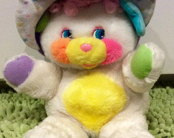 "1986 Baby Cribsy Popple 11"" Plush by Mattel, Vintage Cribsy Popple, Popples, White Popple, Baby Popple, 1989s Popples, Cribsy Plush Popple"