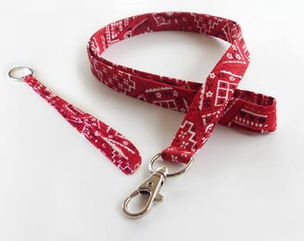 Bandana Lanyard Set / Red Bandana / Red Keychain / Cute Lanyards / Bandanna / Teacher Lanyard / Fabric Lanyards / Badge Holder
