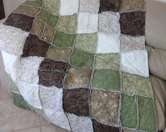 Flannel Rag Quilt, Large Masculine Quilt in Brown, Cream + Greens, Dorm Quilt, Cozy Cabin Quilt, Graduation Gift, Quiltsy Handmade