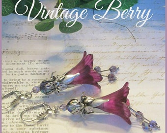 VINTAGE BERRY Lucite Trumpet Flower Earrings, Victorian Earrings, Hand Painted, Swarovski, Raspberry, Purple, Silver, Handmade, Ravengirl