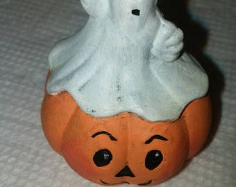 Tiny Ghost on Pumpkin