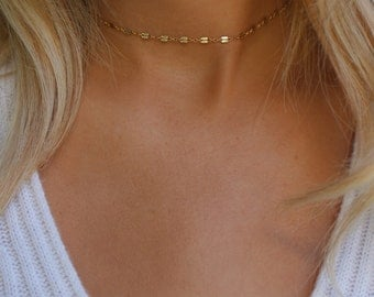 Dainty Chain Choker Necklace / Simple Gold Choker Necklace / Trendy Gold Choker Necklace / Adjustable Choker / Minimal Layering Piece