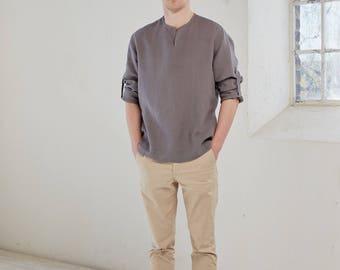 Linen shirt, Linen men's shirt, Brown linen shirt, Linen shirt men's, Linen summer shirt, Long sleeve linen shirt,Roll up sleeve linen shirt