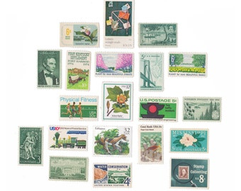 Collection of 20 Unused US Vintage Postage Stamps - Greens