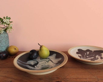 Vintage Pair of Rustic Stoneware Studio Pottery Plates