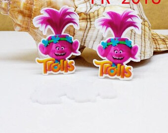 4 pcs. TROLLS POPPY Planar flatback resins Hair bow centers.