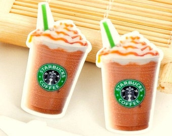 4 pcs. STARBUCKS FRAPPUCCINO Hair Bow Centers, Absolutely Gorgeous!