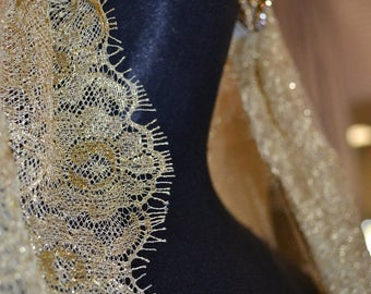 Mantilla, Golden Lace veil, Drop Veil, Bridal Veil, Wedding Veil, Luxury Veil, Chantilly Lace Veil, Gold Veil, Gold Mantilla-  ORLEANS Veil