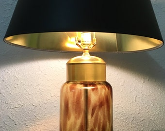 Amazing 70s Mid Century Modern Tortoise Glass Table Lamp By Paul Hanson