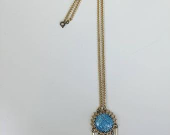 mod blue dichroic glass pendant necklace 60s