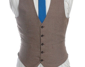 Vintage 1970's Brown Tweed Waistcoat 36 XS - www.brickvintage.com