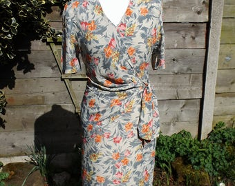 1980's Laura Ashley Floral Tailored Dress - Size 10