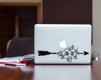 Boho Flower Arrow Decal, Phone Decal, Laptop Decal, Car Decal, Choose Color And Size
