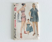 FLASH SALE! 50% OFF! Simplicity 3899 · sz 15, bust 33 · Juniors Bathing Suit and Beach Coat · Vintage 1950s Sewing Pattern