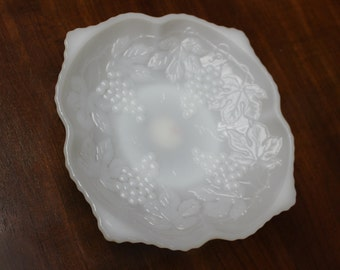 Fire King 1950 Milk Glass Anchor Hocking Grape Design Candy/Serving Dish