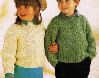 Child Set-in Sleeve Dropped Shoulder Sweater Pullover Jumper Size 51 to 71 cm 20 to 28 inch Sirdar Aran 4573 Vintage Retro Knitting Pattern
